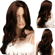 MELADY®(Free Cap) Fashion Casual Brown Long Curly Waves Synthetic Women Girls Lady Hair Replacement Wigs