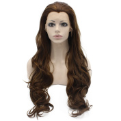 Mxangel 70cm Long Wavy Highlight Brown Synthetic Lace Front Wig Natural