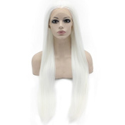 80cm Long White Synthetic Hair Fibre Natural Wigs Long Straight Lace Front Wig at Mxangel