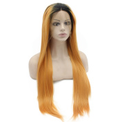 Extra Long Black Root Orange Straight Lace Front Synthetic Hair Ombre Wig Natural at Mxangel
