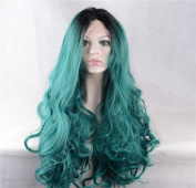 StrongBeauty Green Ombre Full Thick Long Wave Curly Lace Front Wig Heat Resistant Wig