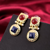 Lvxuan Exquisite Elegant Ruby Sapphire Imitation Gemstone Drop Earrings Women Jewellery Pendant