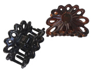 Parcelona French PLUME Small Brown Shell and Black Set of 2 Celluloid Tortoise Jaw Hair Claw Clip Clamp Clutcher - 5.1cm