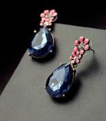 Lvxuan hot women Statement Jewellery Fashion Classic pink flower Blue Resin Water Drop Earrings