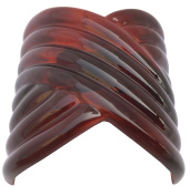 Parcelona French Interwined Brown Shell Celluloid Pony Hair Clip Barrette