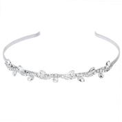 Pixnor Women's Wedding Crystal Bridal Flower Leaves Crown Headband Tiara Headdress