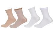 Makhry 2 Pairs Moisturising Spa Gel Socks for Hard Dry Cracked Skin Recovery Socks Classical Grid Socks For Women Size 4.5-8