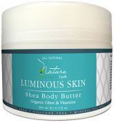 Nature Lush Shea Body Butter with Organic Olive and Sweet Almond - 100% Pure & Natural - Everyday Use - For Dry, Dehydrated & Normal Skin Care -- Parabens & Silicones Free- 200ml
