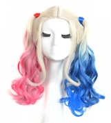 Yuehong Two Colours Wavy Medium Curly Synthetic Hair Dyeing Cosplay Wig Heat Resistant Fibre