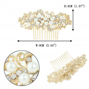 EVER FAITH® Wedding Leaf Decorative Ivory Colour Simulated Pearl Hair Comb Clear Austrian Crystal