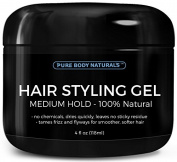 Hair Gel for Men Medium Hold - Best Styling Gel for Short, Long, Thin and Curly Hair - Great for Modern, Messy, Wet and Dapper Styles - With ALL Natural Ingredients by Pure Body Naturals 120ml