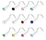 Freedi 30pcs/set Rhinestone Stainless Steel Nose Ring Body Jewellery S Shape Nose Rings