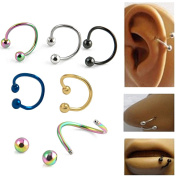 Adecco LLC 10x Multifunction Stainless Steel S Twist Nose Lip Ring Earring Piecring Jewellery
