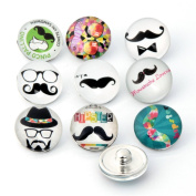 ZARABE 10PC Mix Snap Button 18MM Cute Moustache Glass Rhinestone Jewellery Charms Random