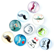 ZARABE 10PC Mix Snap Button 18MM Moustache Glass Rhinestone Jewellery Charms Random