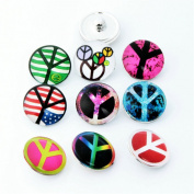 ZARABE 10PC Mix Snap Button 18MM Peace Symbol Glass Rhinestone Jewellery Charms Random