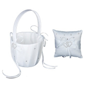 Pixnor Elegant Wedding Flower Girl Basket Double Heart Ring Pillow