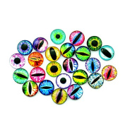 DECORA 20mm Glass Eyes Dome Cabochons Design Flatback Scrapbooking Dome Eyes Assorted Colour 40pcs