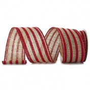 Red Striped Printed Burlap Ribbon - 5 Yards