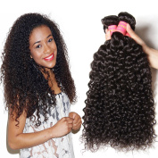 Jolia Hair 16 18 20 Mixed Length Brazilian Virgin Curly Human Hair Weave Extensions No Shedding and Tangle Free 100g/pcs Natural Black Colour Pack of 3