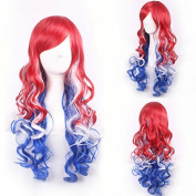 YX Women anime Harajuku Multi-Colour Gradients Long Wavy Manic Panic Cosplay Wig Party Wig