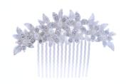 KimmyKu Pearl Bridal Hair Combs Handmade Crystal Pearl Wedding Headpieces Accessories