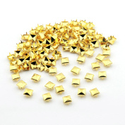 Owfeel 100pcs 6mm Pyramid Square DIY Metal Studs 4 Prongs Spots Nailheads Spikes for Bag Shoes Jeans Bracelet Gold