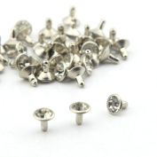 Owfeel 50pcs 7.5mm White Clear Crystals Rhinestone Rivets Nailheads Spots Studs for DIY Leather Craft