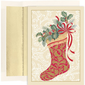 Masterpiece Studios Elegant Stocking, 16 Cards/16 Foil Lined Envelopes