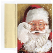 Masterpiece Studios Sparkling Santa, 18 Cards/18 Foil Lined Envelopes