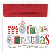 Masterpiece Studios Merry Christmas Elements, 16 Cards/16 Foil Lined Envelopes