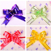 Ewandastore Christmas Gift Pull Bows,100 pcs Plastic Mixed Colour Gift Wrapping Christmas Wedding Decoration Pull Bows