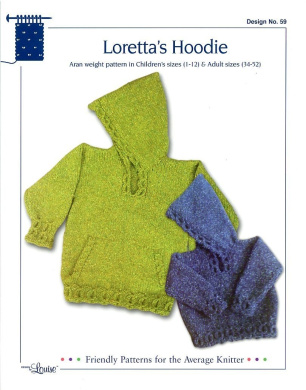 Design by Louise Knitting Pattern #39 Loretta's Hoodie (Knit in Children's Sizes 1 -12 and for Adults 90cm - 130cm )