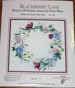 Rose & Tulip Garland - Blackberry Lane Brazilian Embroidery kit with EdMar threads #161