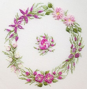 Spring Wreath - EdMar kit #1031, Brazilian embroidery KIT, Black Fabric