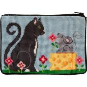 Stitch & Zip Needlepoint Purse Kit- Cat & Mouse