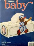 1991 Bernat Baby Plastic Canvas Needlepoint Kit W26250 Baseball Bear Tissue Box Cover