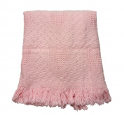 Fairbault Mills - Throw with Hearts - 90cm x 120cm - Pink