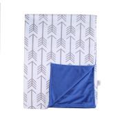 Towin Baby Arrow Minky Double Layer Receiving Blanket, Navy Blue 30x40