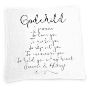Godchild Baby Swaddle Blanket by Ocean Drop Designs - Muslin Swaddle Baby Wrap with Scripture Quotes for Baby Shower, Christening Gift or Baptism Gift - Receiving Blanket, Privacy Throw - 100% Cotton