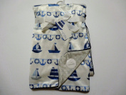 "Sweet Lullaby Baby Blanket ""Sail Away"" Blue Reversible Soft"
