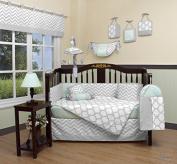 Boutique Baby Soft Mint Green & Grey Chevron 13 Piece Nursery CRIB BEDDING SET