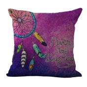Jojoshine Dream Catcher Printed Cotton Linen Cushion Cover Throw Pillow Case Sham Zipper Pillowslip