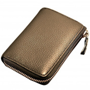 Anshili Unisex Leather Card Holder Coin Change Key Wallet Case Clutch with ID Window