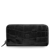 Eric Javits Luxury Designer Women's Fashion Handbag - Zip Wallet -Black Croc