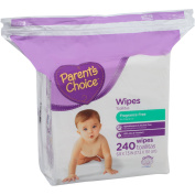 Parent's Choice Fragrance Free Baby Wipes 240 sheets Resealable Zipper Bag Refill