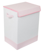 BirdRock Home Baby Clothes Hamper with Lid | Folding Cloth Hamper with Handles | Dirty Clothes Sorter Bin | Easy Storage | Collapsible | Pink and White