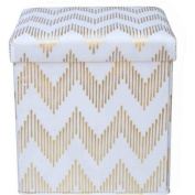 Mainstays Collapsible Storage Ottoman, Multiple Colours / MS56-010-083-10/ Gold Chevron/Gold Chevron /Great for storage and seating