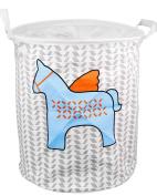 EgoEra Premium Cartoon Foldable Cotton Line Laundry Basket Folding Children Toys Organiser Storage Basket Tidy Clothes Holder with Lids, Blue Horse