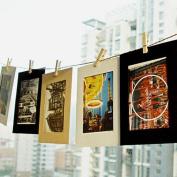 Photo Frames Saingace® Home Decor 10Pcs 7.6cm Cute Paper Leather Wall Picture Album Hanging Rope Camp
